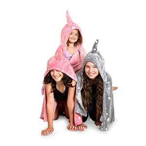 LIDERSTAR Glow in The Dark Hooded Unicorn Blanket for Girls- Glowing Throw Blankets- Comes with UV Flashlight,Wearable Fleece Wrap Pink Hood