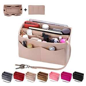 Purse Organizer Insert, Felt Bag organizer with zipper, Fit Speedy, Neverfull, Tote (Slender Medium, Beige)