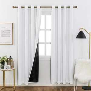 Home Brilliant 100% Blackout Curtain Panels with Black Backing for Living Room, Thermal Insulated Window Treatment Set (White, 2 Pieces, 52 Wide x 84 Inches Drop for Each Panel)