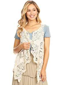 Anna-Kaci Women's Open Stitch Cardigan Boho Hippie Butterfly Crochet Slims Lacey Vest, Beige, Medium/Large