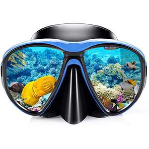 KUYOU Snorkel Mask Adult, Profession Scuba Mask Adult Diving Mask Plating Impact Resistant Tempered Glass Anti-Fog Anti-Leak