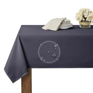 RYB HOME Spillproof Table Cloth for Rectangle Tables 8ft Home Office Kitchen Banquet Cafe Tabletop Protect Scratch Resistant Outdoor Indoor Decor, 60 x 120, Grey