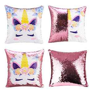 Merrycolor Unicorn Gifts Mermaid Throw Pillow Cover Magic Reversible Sequin Cushion Cover Decorative Pillowcase That Change Color (F Unicorn- Light Pink Sequins)