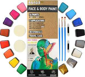 Craft Pro Face Paint - Vegan + Cruelty Free. Sensitive Skin Approved. Includes Guidebook, Applicators, Stencils. Easy ON Easy Off (Water Activated Body Paint)