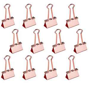 EFISH 32mm Wide Rose Gold Metal Big Swallowtail Clip/Paper Clips/Binder Clips File Paper Money Clamps for Tags Bags,Shops,Office,Storage Tool and Home Kitchen-12 Pieces