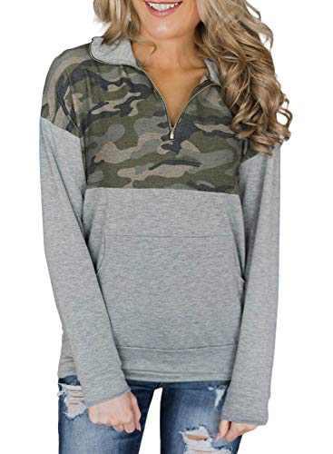 Actloe Women 1/4 Zipper Stand Collar Camo Printed Patchwork Pullover Top Long Sleeve Sweatshirt with Kangaroo Pockets Green Small
