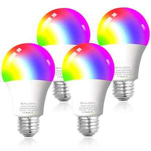 Smart WiFi Alexa Light Bulbs, SAUDIO LED RGB Color Changing Bulbs, Works with Alexa, Echo, Google Home & Siri, 2.4GHz WiFi Only, No Hub Required, 8W A19 E26 Multicolor 4 Pack
