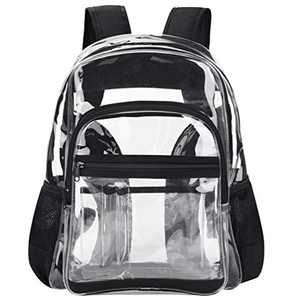 Clear Backpack Stadium Approved, VBG VBIGER Transparent PVC Plastic Bags, Durable Heavy Duty See Through Beach Daypack Perfect for Sports Games,Work, Travel