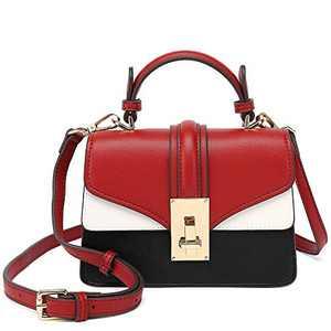 Scarleton Mini Top Handle Satchel Handbag for Women, Purses for Women, Vegan Leather, Crossbody Bag for Women, Shoulder Purse, H207710 - Black/Red