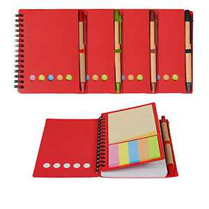 """Kisdo 4 Packs Lined Spiral Notebook Kraft Paper Cover Notepad with Pen in Holder, Sticky Notes and Page Marker Colored Index Tabs, 4.5""""x5.5"""" Steno Pocket Business Notebook"""