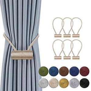 DCLYSI 6 Pack Magnetic Curtain Tiebacks,16 Inch Decorative Curtain Holdbacks for Window Décor