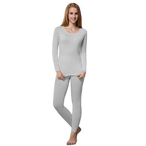 Thermal Underwear Women Set Base Layer Top & Bottom Long Johns Warm with Fleece Lined Winter Grey