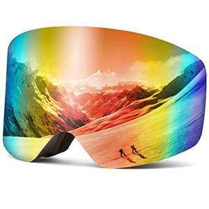 Wantdo Ski Goggles Interchangeable Lens Frameless Snow Goggles Revo Red,VLT 17%