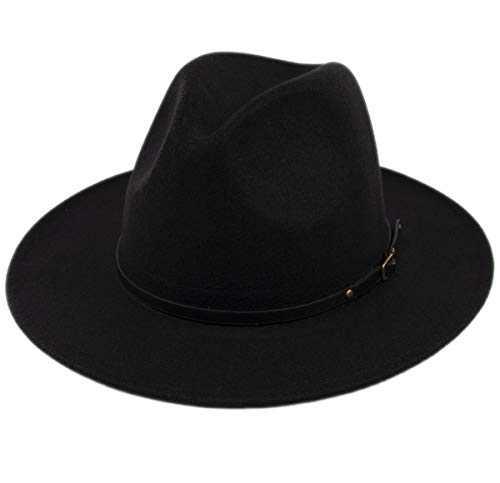 Lanzom Womens Classic Wide Brim Floppy Panama Hat Belt Buckle Wool Fedora Hat (One Size, Black)