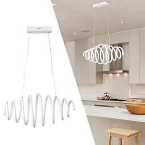 CHYING Modern Kitchen Island LED Chandeliers, Creative Spiral Retractable Full Lighting Pendant Lights 50W Cool White 6500K Ceiling Fixture Adjustable Lamp for Foyer Living Room Dining Room Bar
