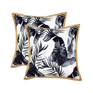 Hahadidi Summer Pillow Cover 18x18 Inch Decorative Topical Farmhouse Pillowcases Printed with Deep Ink Color Pattern Cushion Covers Velvet with Hemp Trim Set of 2