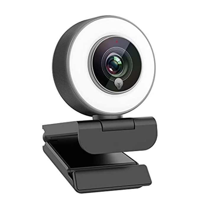 Angetube Webcam 1080P HD Built-in Adjustable Ring Light with Microphone Advanced Autofocus(AF) streaming Web Camera for Xbox Gamer Facebook YouTube Streamer