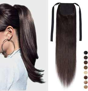 """20"""" Human Hair Ponytail Extension 100% Remy Real Wrap Aronud Tie Up Binding Drawstring Hair Pieces for Women [95g,#2 Dark Brown]"""