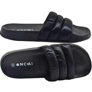 ONCAI Womens Glitter Slides Casual Flat Slide Sandals Soft Cozy Slip on Summer Shoes Non Slip Rubber Sole Bright Black Size 6
