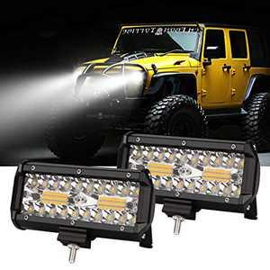 7Inch Led Light Bar 240W 24000lm Fog Light Pods Spot Flood Combo Driving Light Waterproof Triple Row Off Road Lights for Trucks Trailer Pickup Buggy UTV SUV Boat 2Pcs