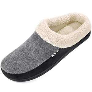 Men's Slippers Fuzzy House Shoes Memory Foam Slip On Clog Plush Wool Fleece Indoor Outdoor Size 9-10 Grey/Black