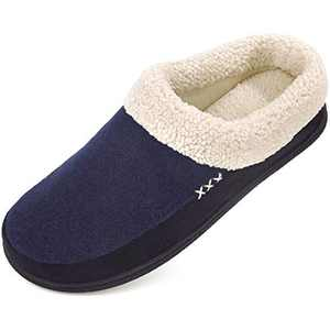 Men's Slippers Fuzzy House Shoes Memory Foam Slip On Clog Plush Wool Fleece Indoor Outdoor Size 9-10 Navy/Black