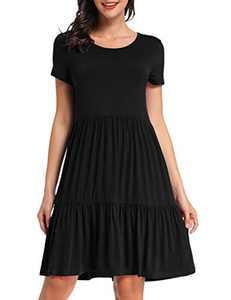 VEPKUL Womens Summer Short Sleeve Swing Dress Casual Loose Babydoll Dresses(Black,S)