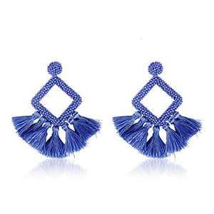 Jornarshar Hoop Round Tassel Earrings for Women Handmade Bohemia Beaded Fringe Dangle Earrings, Idea Gift for Mom, Sister and Friends (Iris Blue)