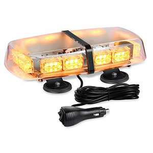 AT-HAIHAN Waterproof 36W Rooftop Flashing Amber Strobe Light Bar with 4 Strong Magnetic Bases for Trucks Snow Plows Construction Vehicles Security Cars Safety Warning