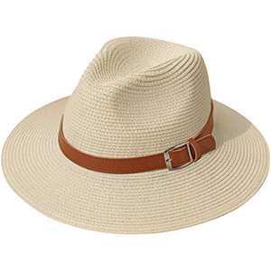 Lanzom Women Wide Brim Straw Panama Roll up Hat Fedora Beach Sun Hat UPF50+ (X Buckle Belt-Khaki)