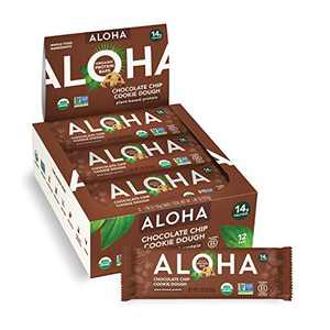 ALOHA Organic Plant Based Protein Bars - Chocolate Chip Cookie Dough - 12 Count, 1.9oz Bars - Vegan Snacks, Low Sugar, Gluten-Free, Low Carb, Paleo, Non-GMO, Stevia-Free, No Sugar Alcohols