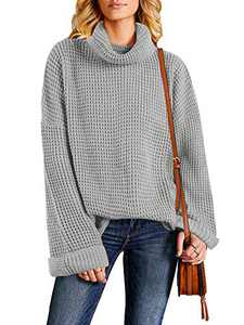 Tutorutor Womens Oversized Chunky Sweaters Casual Batwing Sleeve Turtleneck Loose Knitting Baggy Slouchy Jumper Tops  Gray