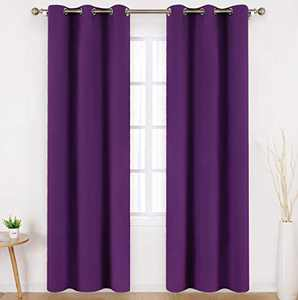 HOMEIDEAS Purple Blackout Curtains 42 X 84 Inch Long Set of 2 Panels Room Darkening Bedroom Curtains, Thermal Grommet Light Blocking Window Curtains for Living Room