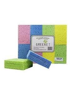 Cleaning Sponges Bulk Sponges, 24 Pack+ 2 Free Heavy Duty Scouring Pads, Sponges Bathroom Sponge Kitchen, Cleaning Sponge 100% Natural Cellulose for Kitchen Sponges (Square)