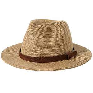"Lanzom Men Women Wide Brim Straw Foldable Roll up Hat Fedora Summer Beach Sun Hat UPF50+ (Style C-Khaki, Medium Size:Fit for 22.5""-23"")"