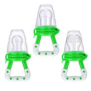 Baby Fresh Food Feeder 3Pcs Fruit Silicone Nipple Teething Toy Reusable Aching Gums Pacifier Green