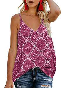 TECREW Women's Boho Floral V Neck Spaghetti Straps Tank Top Summer Sleeveless Shirts Blouse Purple Red