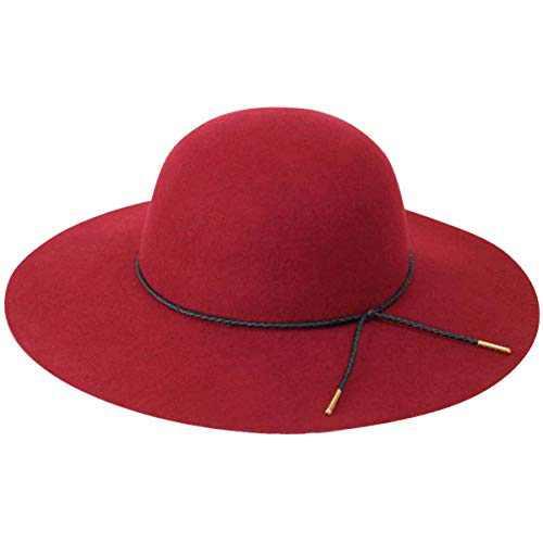 Lanzom Women Lady Retro Wide Brim Large Floppy Panama Hat Belt Wool Fedora Hat (Wine Red, One Size)