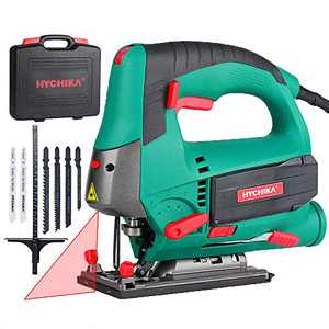 Jigsaw, 6.7A 800W HYCHIKA Jig Saw 800-3000SPM with 6 Variable Speeds, 4 Orbital Sets, Bevel Angle 45°, 6PCS Blades, Pure Copper Motor, Laser Guide, Carrying Case Wood Metal Plastic Cutting
