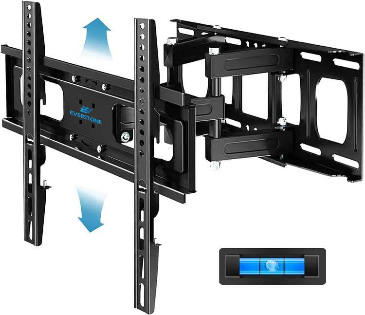 """Everstone 15°Tilt 90°Swivel 32-65""""Six Articulating Strong Arm Full MotionTV Wall Mount Bracket,load MAX 121lbs,VESA MAX 400*400,Fit 8-16""""Studs,Low Profile Universal for Flat Screen,OLED,LED,Curved TV"""