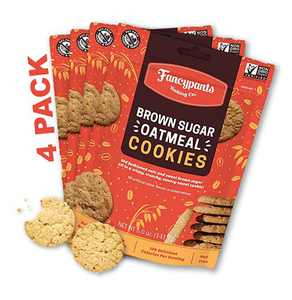 Fancypants Baking Co. Nut Free Cookies - Buttery Delicious & Crunchy Brown Sugar Oatmeal - Non-GMO Bagged Cookies 4 pack (5oz)