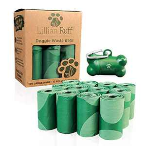 Lillian Ruff Doggie Bags for Poop - 12 Rolls of 13 x 9 Inch Extra Thick Leak Proof Unscented Dog Poop Bags - 15 Waste Bags Per Roll Total of 180 Easy to Open Doggy Bags
