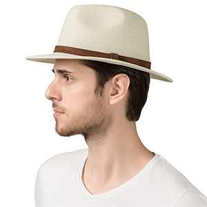 "Lanzom Men Women Wide Brim Straw Foldable Roll up Hat Fedora Summer Beach Sun Hat UPF50+ (Style C-Ivory White, Medium Size:Fit for 22.5""-23"")"