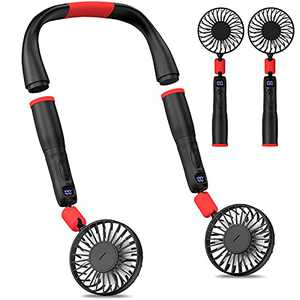 Cevapro Portable Fan Neck Fan with Removable Neck Hanging Design 4000mAh USB Rechargeable Battery Operated Personal Neckband Fan with 3 Speeds Strong Airflow for Outdoor Travel Sports Office Home