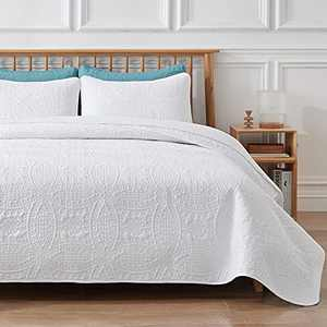 VEEYOO 3 Pieces Bedspread California King - Ultrasonic Embossing Lightweight Quilt Set, Soft Microfiber Reversible Coverlet for All Seasons (White, 1 Bedspread, 2 Shams)