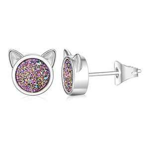 WISHMISS Sterling Silver Earrings Cat Mickey Mouse Stud Earrings Hypoallergenic for Women with Rainbow Drusy (cat)