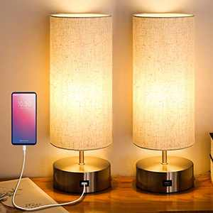 Yueximei Touch Control USB Table Lamp,3 Way Dimmable Touch Lamps with USB Charging Port,Modern Night Stand Lights for Bedroom Living Room Study Room,LED Bulb Included (Pack of 2)