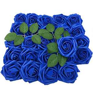 Lmeison Artificial Flower Rose, Christmas Tree 50pcs Real Looking Blue Roses w/Stem for Bridal Wedding Bouquets Centerpieces Baby Shower DIY Party Home Decor
