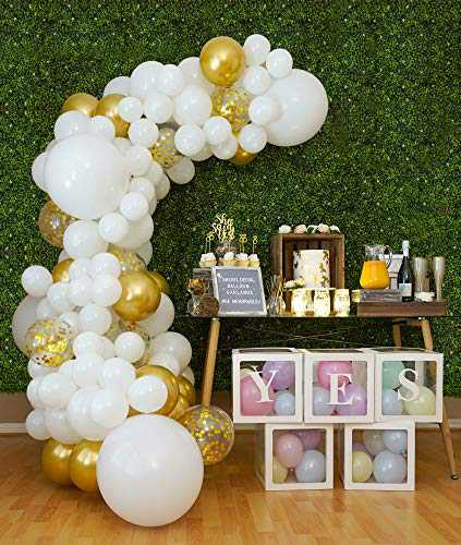110pc 4 Size- White Balloon Arch Kit & DIY Balloon Garland, Small and Large White and Gold Balloons, Confetti Balloons, Big White Balloons for Wedding, Bridal Shower, Baby Shower, Bachelorette Party