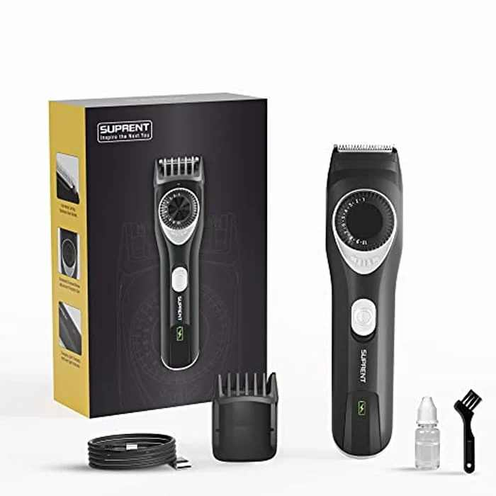 SUPRENT Beard Trimmer Men Adjustable Beard Trimmer for Men with Li-ion Battery Fast USB Charge and Long-Lasting Use for 20 Built-in Adjustable Precise Lengths